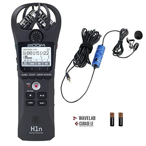 Zoom H1n Tragbares Digital-Recorder Bundle mit Movo Lavalier-Mikrofon zum Aufstecken