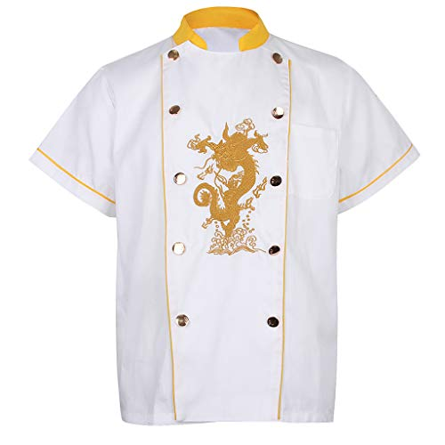 Gazechimp Chef Stickerei Drachen Uniformen Mit Stehkragen Sommer T Shirt - Weiß XXL -