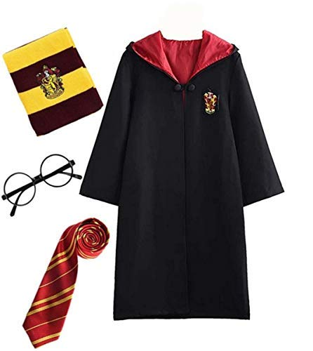 Fanessy. Kinder Erwachsene Umhang Kostüm Für Harry Potter,Fancy Dress Cosplay Outfit Set Zauberstab Krawatte Schal Brille Hut Hemd Rock Karneval Verkleidung Fasching Halloween 105-185 (Granger Hermine Halloween-kostüme)