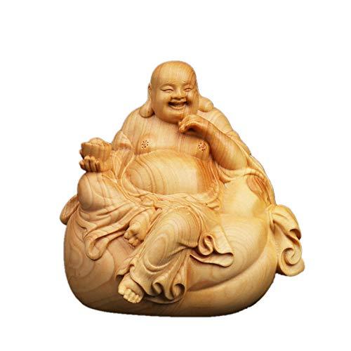 Figur,Statue,Statuen,Statuette,Skulpturen,Buddha,Buchsbaum Handwerk Sitzen Auf Dem Beutel Maitreya Buddha Statue Dekoration Für Wohnzimmer Schlafzimmer Home Tempel Angebote Carving Zen Kunst Dekorati