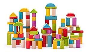 Woodyland 102190914 - Bloques de Madera para niño (2,5 cm), Color Natural y Multicolor