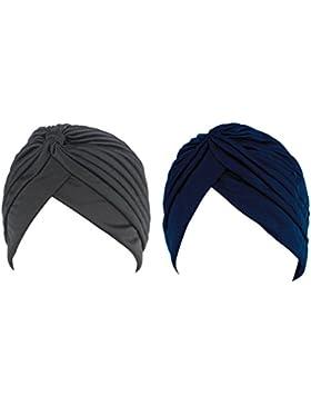 Hikong 2pcs Turbante Cappello Pieghe Chemioterapia Fascia Bandana Cappellini Indiana di Sonno Notte Dormire Berretto...