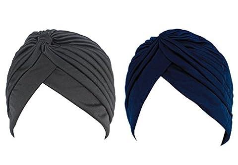 2pcs Chapeau Turban chimio/radiothérapie Perte de Cheveux Cancer en mousseline de soie Plissé Bonnet tête Wrap bandana Indien