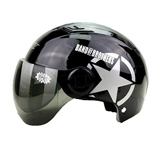 CARWORD Erwachsener Fahrradhelm Mit Schutz Deluxe Senior Helm Biker Scooter Black Full Face Motorrad