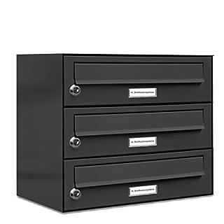 AL Briefkastensysteme 3er Briefkasten in Anthrazitgrau RAL 7016, Premium Briefkasten DIN A4, 3-Fach Postkasten modern Aufputz