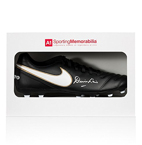Denis Law Signed Football Boot – Black Nike Tiempo – Gift Box