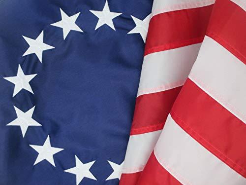 Betsy Ross Flagge Größe 3'von 5ft.-Schöne, haltbares Premium Nylon, Outdoor 13Star Early American Flagge mit Eingestickte Sterne und Streifen, 100% Hergestellt in den USA -