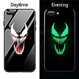 Friendly Store Lumineux Coque Arrière en Verre Trempé Marvel Dead Pool Venom Villain Super Hero pour iPhone 6 6S 7 8 Plus XS XR XS Max Couverture Arrière (4, iPhone 6 6S)