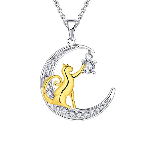 JO WISDOM 14K Vergoldet katze anhänger Halbmond Kette Silber 925 Zirkonia Halskette für Damen Madchen - Kettenlänge 45cm mit Geschenkbox