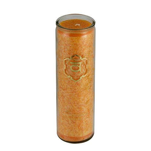 aqasha® Duft-Kerze im Glas   Sakral-Chakra   Zeder, Tanne, Rosmarin & ätherische Öle   Fair-Trade Stearin Palmöl   Brenndauer ca. 100 Stunden -
