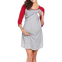 ALIKEEY Las Mujeres Vestido De Maternidad De Enfermería Pijama Camison De Lactancia Sleepwear Coche Faja Cojin