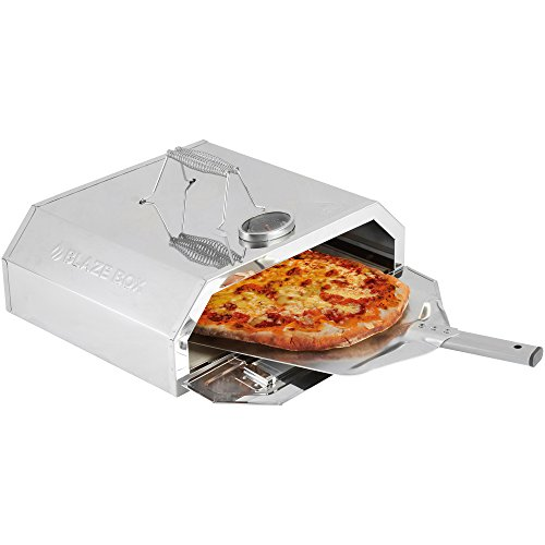 41CFNAdLghL. SS500  - BLAZE BOX BBQ Pizza Oven with Temperature Gauge for Outdoor Garden Barbecues & Gas Grills (Pizza Oven with Paddle)