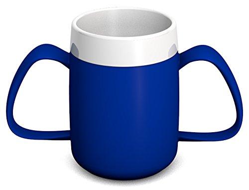 1 Ornamin 2-Henkel-Becher mit Trink-Trick 140 ml blau | ergonomische Schnabeltasse mit zwei Henkeln zum Trinken bei Zittern ohne den Kopf in den Nacken zu legen | Spezial-Trinkhilfe, Schnabelbecher 4