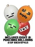 Punch Ballons - Pixel Minen Style für Kinder 40cm (8-Stück) – beinhaltet grünes Zombie, weißes Skelett, rotes TNT und Orange Kürbislaterne
