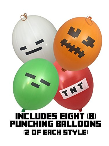 l Minen Style für Kinder 40cm (8-Stück) – beinhaltet grünes Zombie, weißes Skelett, rotes TNT und Orange Kürbislaterne (Punch-ballon)