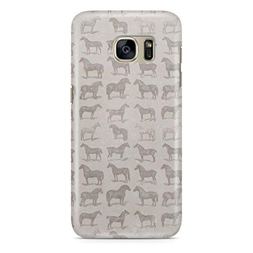 Queen Of Cases Coque pour Apple iPhone 6Plus/6S Plus-Vintage Motif chevaux sur Gris-Premium en plastique gris