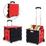 ZDYLM-Y Einkaufsroller klappbar Leichter Lehrwagenwagen - Rollbare Faltbare Aufbewahrungsbox mit Aluminiumgriff, 45 L