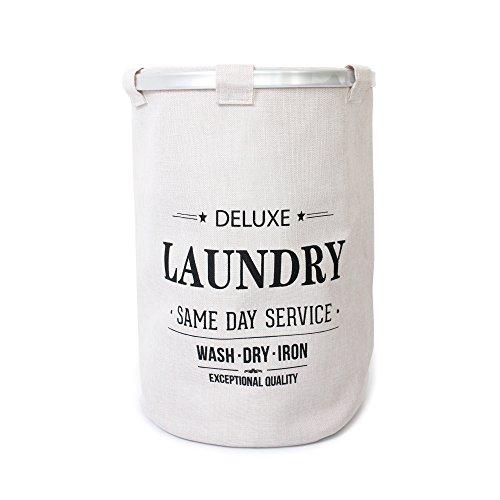 Laundryspecialist® cesta per la biancheria, cesto portabiancheria deluxe trendy beige rotonda effetto lino per raccogliere il bucato. sezione ca. 40 cm. completata da bordo in alluminio e rete. misure ca. 40 x 40 x 57 cm (lxwxh)