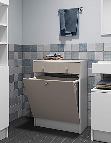 Symbiosis 6084a2191a17Zeitgenössische Küchenschrank mit 2Schubladen/1Becken Wäschekorb weiß/grau Taupe 60x 29,6x 81,5cm - 2 Schubladen Zeitgenössischer Schrank