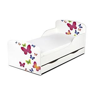 Leomark KINDERBETT 140×70 mit Schublade Funktionsbett Einzelbett mit Matratze Motiv: Schmetterlinge Sehr Einfache Montage, Bettkasten