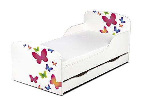 Leomark KINDERBETT 140x70 mit Schublade Funktionsbett Einzelbett mit Matratze Motiv: Schmetterlinge Sehr Einfache Montage, Bettkasten
