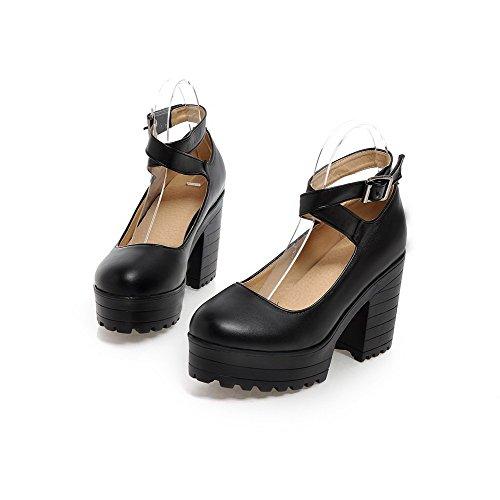 AgooLar Damen Rund Zehe Hoher Absatz Weiches Material Schnalle Pumps Schuhe Schwarz