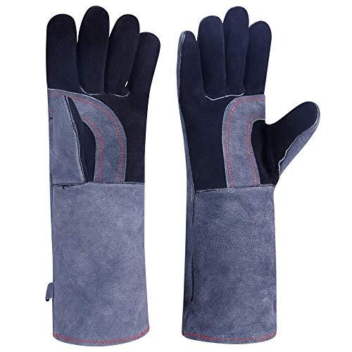 Gants en cuir de haute qualité résistants à la chaleur et au feu, parfaits pour le soudage, barbecue, jardinage, noir-gris 15 pouces, protéger l'avant-bras, avec grande taille (15 pouces / 39 cm)