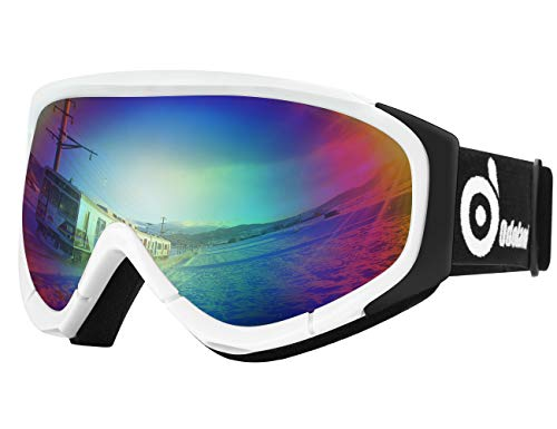 Odoland Lunettes de Ski Masque de Snowboard pour Homme & Femme Anti-UV403, Anti-Buée, Coupe-Vent, Lunettes de Protection avec Grande Lentille OTG Sphérique
