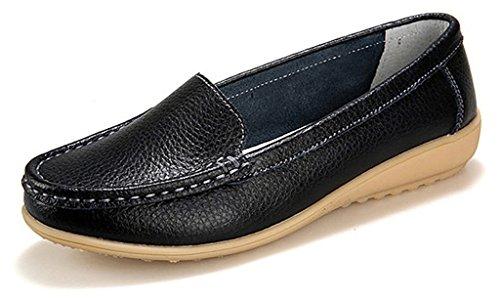 NEWZCERS Femmes décontractées Chaussures mocassins de conduite Chaussures en cuir mocassins Noir