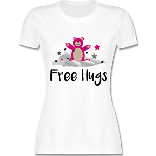 Comic Shirts - Free Hugs - Damen T-Shirt Rundhals Weiß