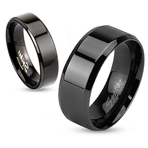 Autiga Damen Herren Ring Edelstahl Partnerring Ehering Verlobungsring Bandring schwarz 57 - Ø 18,14 mm 6 mm
