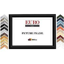 EUROLine50 cadre photo sur mesure pour des photos 61 cm x 91 cm, couleur: Noir matt, fabrication sur mesure du cadre en bois MDF, y compris verre acrylique traité antireflet et partie arrière en MDF, largeur du cadre: 50 mm, dimensions extérieures: 69,6 cm x 99,6 cm
