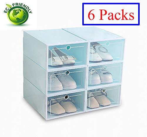 Hwalla Cajas de Zapatos de plástico Transparente Apilable, tamaño de la Caja de Zapatos Contenedores de Almacenamiento con Tapas (Verde, 6 Pack)