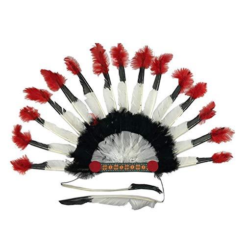Kostüm Der Indischen Arten - Domire 1 Packung Thanksgiving-Kopfschmuck Requisiten Hergestellt Von Der Feder-Indischer Art-Kopfschmuck Emirates Cap Partei Props Supplies