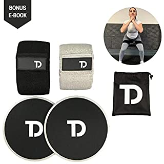 TD Fabric Resistance Bands and Sliders - Heavy Duty Exercise Resistance Loops for Legs & Butt - Workout Booty Bands & Core Sliders - Fitness Gym Band + Perfect for Strength Training & Weight Loss