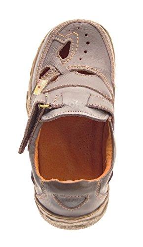 Damen Comfort echt Leder Sandaletten TMA 7008 Schuhe viele Farben Zeitungsdruck Halbschuhe Sandalen Braun