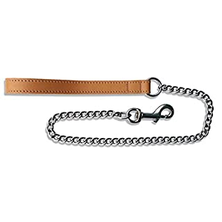 BBD 30-inch Heavy Leather Chain Lead, Tan