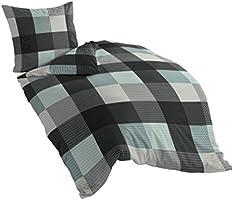Bierbaum 6452_02 Dessin Parure de lit en flanelle Turquoise 135 x 200 cm + 80 x 80 cm