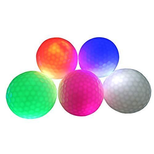 DAYOLY 6 Stück Leuchtende Golfbälle LED Leuchten Perfekt für Nacht Fern Trainingsglühen in der Dunkelheit Heller glänzender Golf (Random delivery) (6PCS)