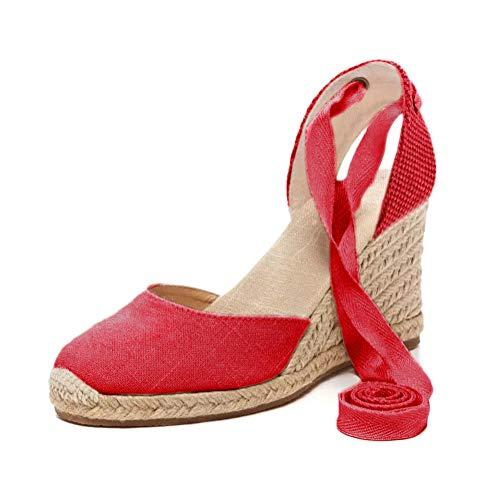 Tomwell Sandalias Mujer Cuña Alpargatas Moda Bohemias Romanas Sandals Rivet Playa Verano Tacon Zapatos...