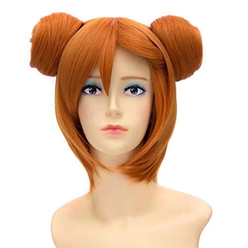 Kousaka Honoka Orange Gerade Kurzes Kostüm Cosplay Anime Charakter Zwei Seiten Brötchen Voll Perücke (base wig 30cm+Hair bag -Orange) ()