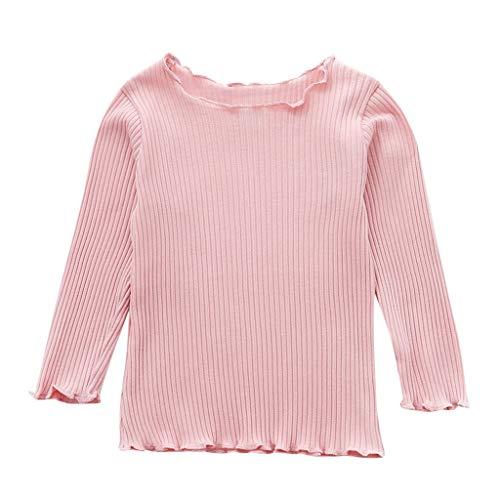 Lookhy Bekleidungssets,Kleinkind Baby Kinder Mädchen Langarm Einfarbig Welle Rand T-Shirt Tops Bluse Langarmshirt Mädchen Basic