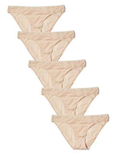 Iris & Lilly Brasilian Slip Damen flach tiefsitzend 5er-Pack, Beige (Sand Dollar), M (Sand-dollar-bikini)