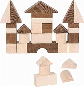 Goki 58537 Bloque de construcción de Juguete - Bloques de construcción de Juguete (Marrón, Madera, Madera, 30 Pieza(s), 2 año(s), 640 g)