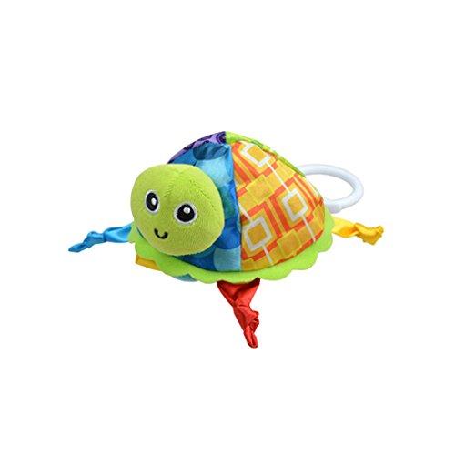 Amazemarket Multifunktional Weich ausgestopft Schildkröte Tiere Baby beschwichtigen Spielzeug Absorbierend Handtuch Beißring Rassel Säugling Puzzle Intelligent (Blau)