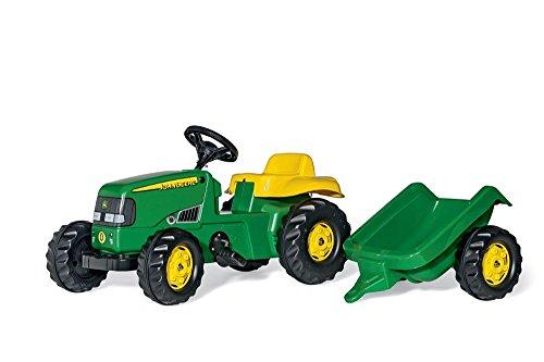 Trettraktor mit Anhänger Rolly Toys 012190 - rollyKid John Deere (mit Anhänger, Drehschemellenkung, Alter 2,5 - 5 Jahre, Heckkupplung)