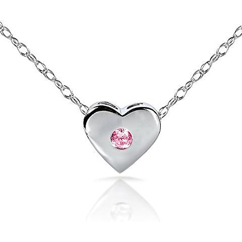 Pink Sapphire Bisel Colgante de Corazón en oro blanco de 14K (18Cadena)
