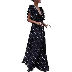 beautyjourney Elegante Vestido de Noche Profunda v-Mujer, Vestido Estilo túnica con Cintura Alta de Lunares Vestido de Fiesta de cóctel Largo Hueco de la Manga del Volante de la Vendimia