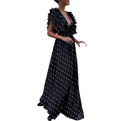 leid Langes Elegantes Kleid Plus Size Vintage Dot Fliegenhülle V-Ausschnitt Abendkleid Partykleid Retro Kleider ()