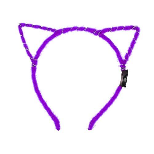 Kalaokei Haarreif mit Katzenohren, mit LED-Licht, blinkend, Party-Haarband violett